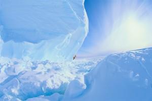 Man Climbing an Iceberg