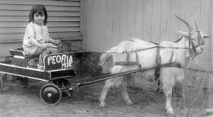 Audrey Salerno, goat and wagon courtesy of  traveling photographer, 1931